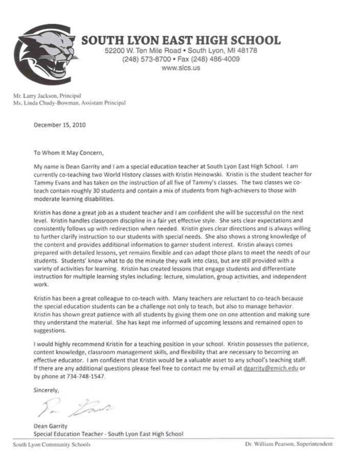 Letter From World Studies Co-Teacher - Kristin Hock'S Teaching