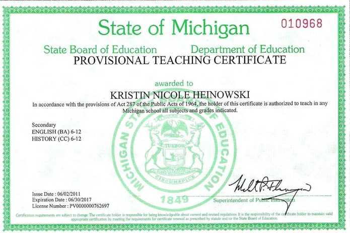 Michigan Teaching Certificate Kristin Hocks Teaching Portfolio
